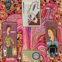 A colourful hand-embroidered and crocheted tapestry by Klaas Rommelaere depicts a clock next to a few human figures carrying shopping bags. They are looked at by an angry-looking flesh-coloured monster from the background.