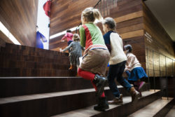 Children walking on the stairs
