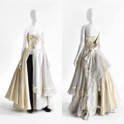 Front and back view of a wedding dress designed by Martin Margiela. The dress consist of three vintage wedding dresses